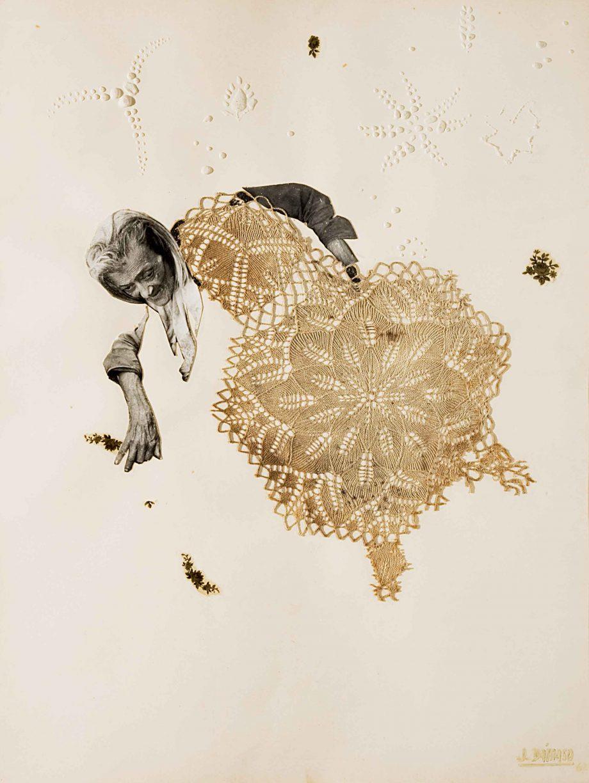 Serie Juanita. Encajes, 1967. Técnica mixta: pintura y collage de encaje y fotografía sobre papel. 63 x 48 cm