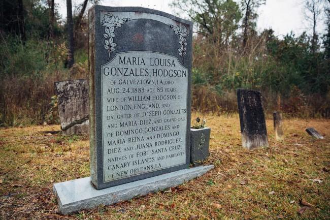 Fig 7: Tumba de Maria Louisa Gonzales Hodgson, Mount Zion Cemeteries, Prairieville, LA, 2014.