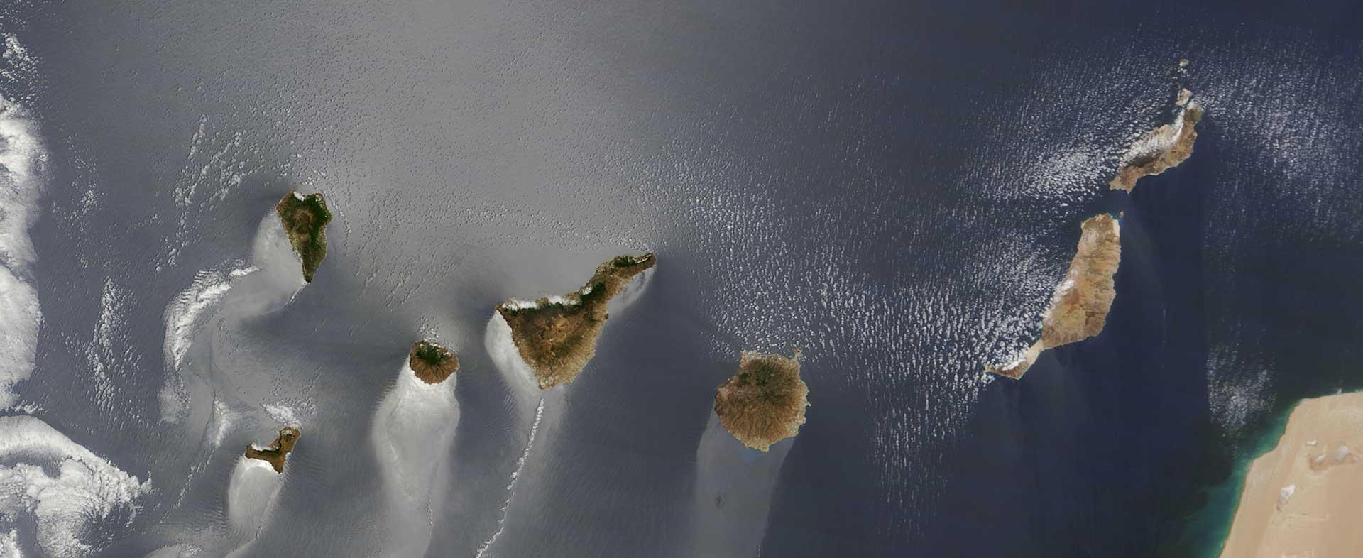 Imagen satélite de las Islas Canarias