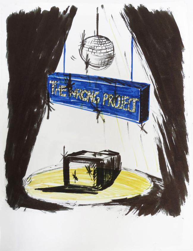 Tamara Arroyo, Bocetos para el proyecto The Wrong Project, 2012, tinta china y rotulador sobre papel (cuaderno de bocetos), 29,7 x 21 cm. Imagen cortesía de la artista.