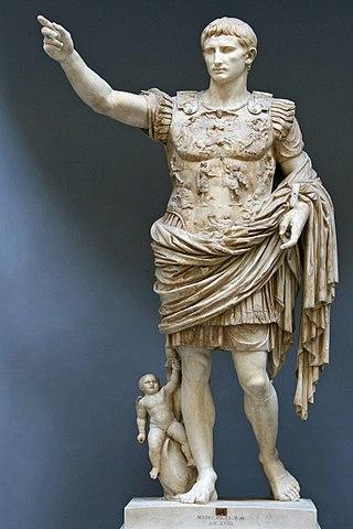 Augustus de Primaporta, siglo I, mármol, altura 204 cm, Museos del Vaticano, Roma